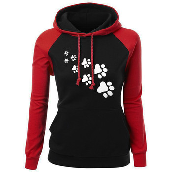 Sweatshirt Women 2018 Hoodies Oversize Dog Footprint Autumn Winter Pullovers Female Sweatshirts Moletom Feminino