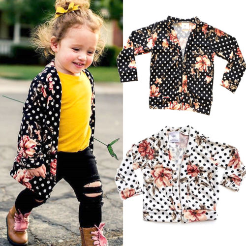 Summer Autumn Baby Girl Flower Cardigan Coat Kids Long Sleeve Tops Outwear Casual Clothes Floral Dots Toddler Beachwear Coat New