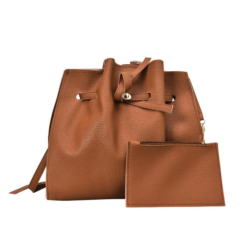 2Pcs/Set Large Handbag Bucket Artificial Leather Tote Bag Solid Crossbody Shoulder Handbag Purse