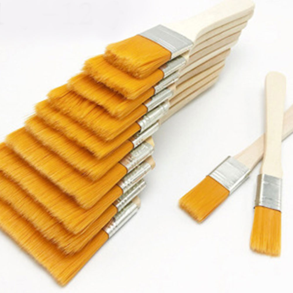 12pcs/set Home Tool Wall Decor Reusable Barbecue Nylon Gouache With Wood Handles Oil Painting Gift For Children Paint Brush