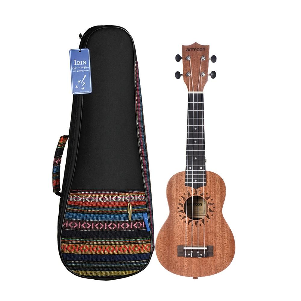 ammoon 21 Ukulele Sapele Acoustic Ukulele 15 Fret 4 Strings Stringed Musical Instrument with Ukulele Bag