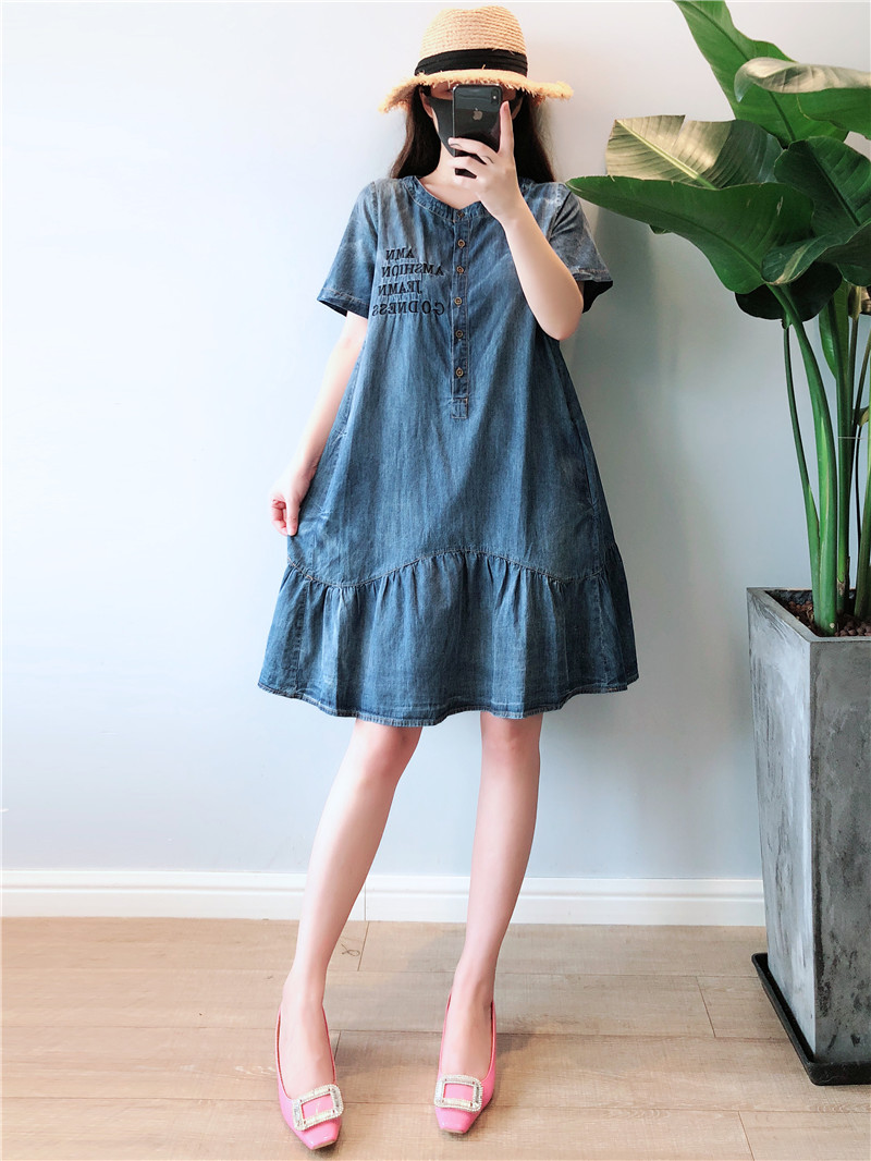 Summer Dress Women Plus Size 5XL Casual O-neck Short Sleeve Denim Dresses Women Knee Length Denim Jeans Women Dress 2019 Robe 2