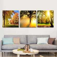 Modern Canvas Painting 3 Panel Sunset Landscape Art Autumn Wall HD Printing Oil Decoration Modular Forest