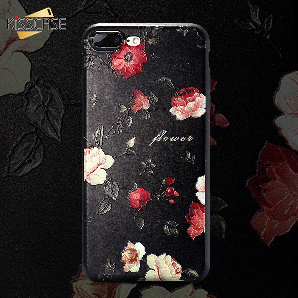 KISSCASE 3D Floral Pattern Phone Case For iPhone MAX XS XR X TPU Silicone 5 5s SE 6 6s 7 8 Plus Fashion Cover Cases