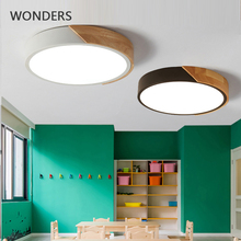 Ultra-thin LED Ceiling lamp wooden Modern Surface Mount Flush Panel Remote Control ceiling Light for Restaurant Foyer Bedroom
