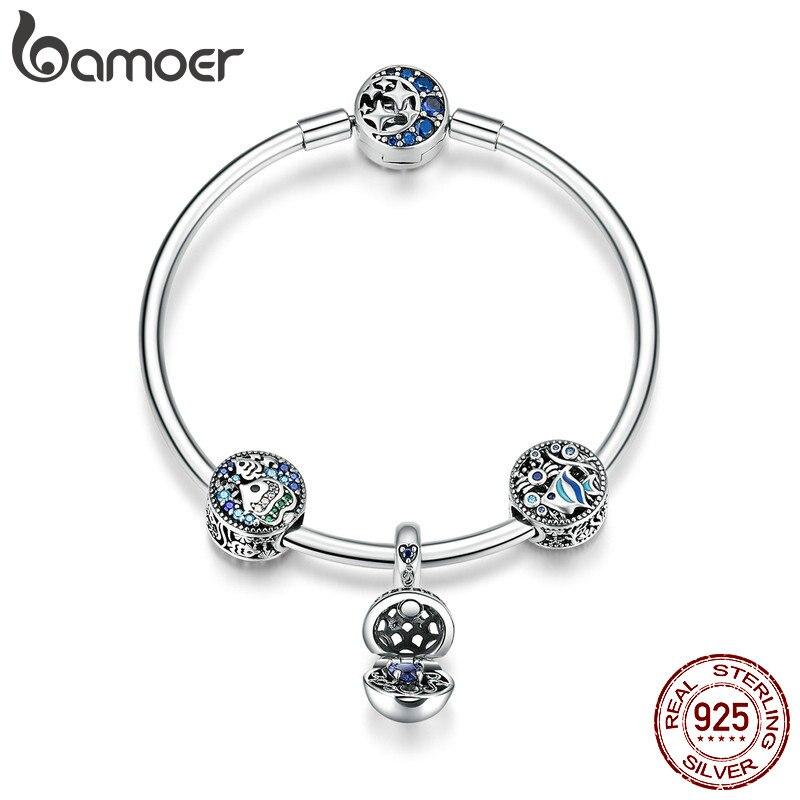 BAMOER 100% 925 Sterling Argent Poissons Tropicaux Océan bracelets porte-bonheur pour Femmes Lune Étoiles bracelet bleu et Bracelet Bijoux SCB813