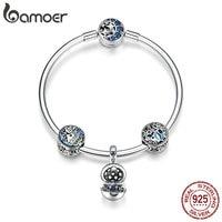 BAMOER 100% 925 Sterling Silver Tropical Fish Ocean Charm Bracelets for Women Moon Star Blue Bracelet & Bangle Jewelry SCB813