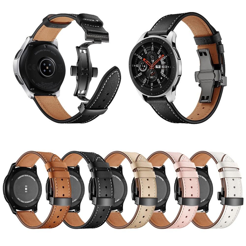 Véritable lanières en cuir Pour Samsung Galaxy Montre 46mm 42 Acier montre papillon Sangle Bande Vitesse S3 Classique Frontière montre huawei