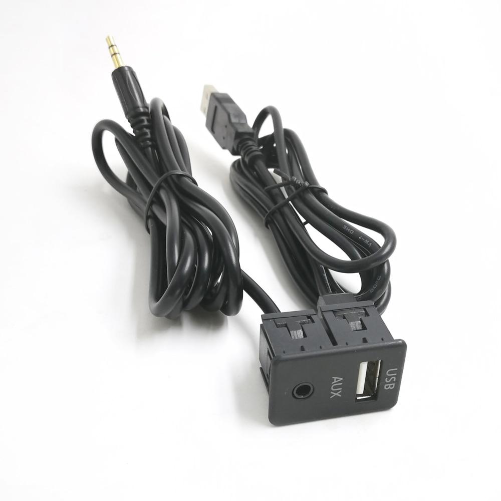 Biurlink 100CM Car Dash Flush Mount USB Port Panel Auto Boat 3.5mm AUX USB Extension Cable Adapter For Volkswagen Toyota