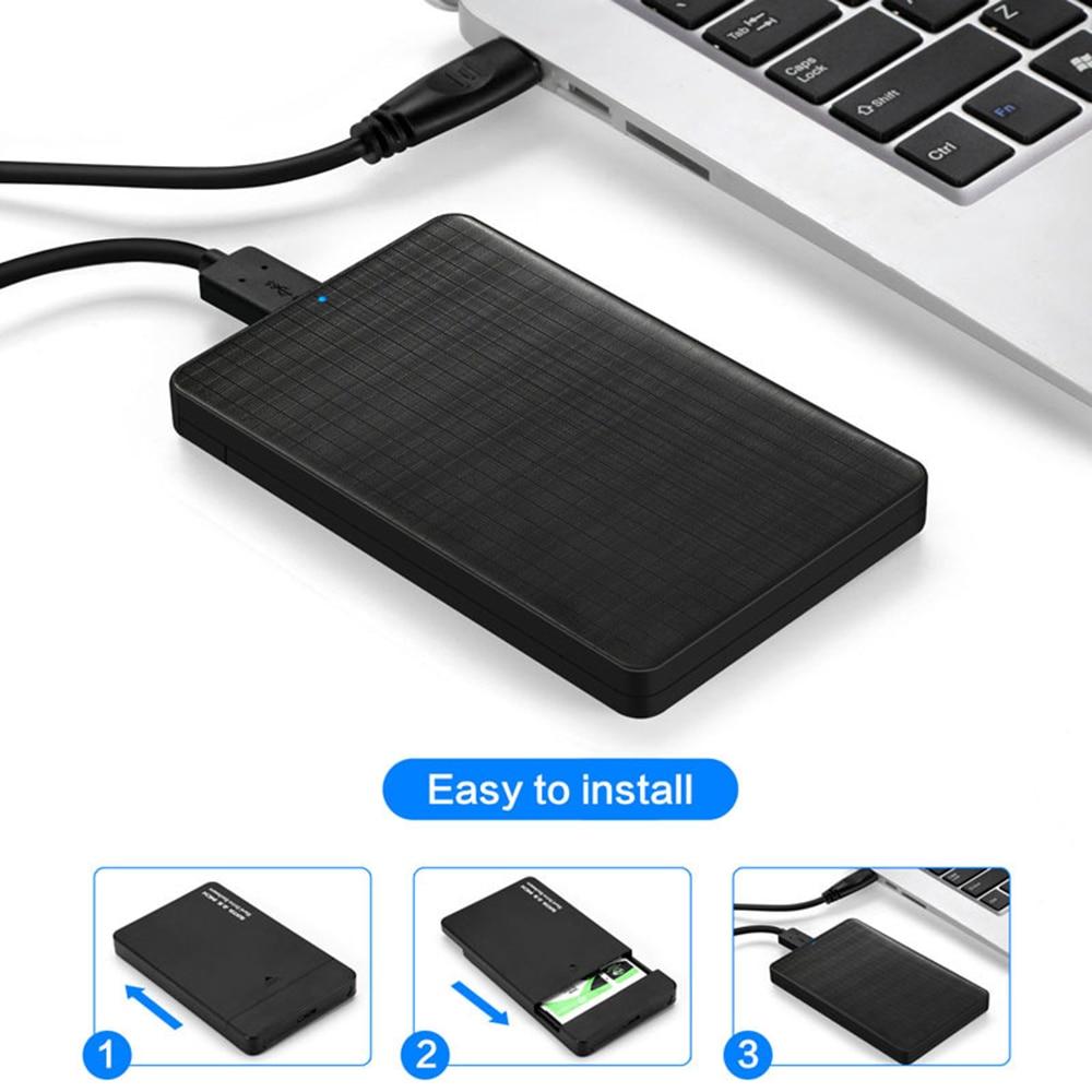ABS 2.5 Inch SATA To USB 3.0 HDD SSD Case For Samsung Seagate SSD 2TB 4TB Hard Disk Drive Box External HDD Enclosure Black