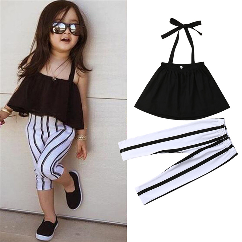 1-6Y Cute Girls Summer Clothing Kid Strap Tops+Striped Pants Leggings 2pcs Outfits Kids Fashion Clothes toddler girl clothes girl