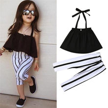 1-6Y Cute Girls Summer Clothing Kid Strap Tops+Striped Pants Leggings 2pcs Outfits Kids Fashion Clothes toddler girl clothes(China)