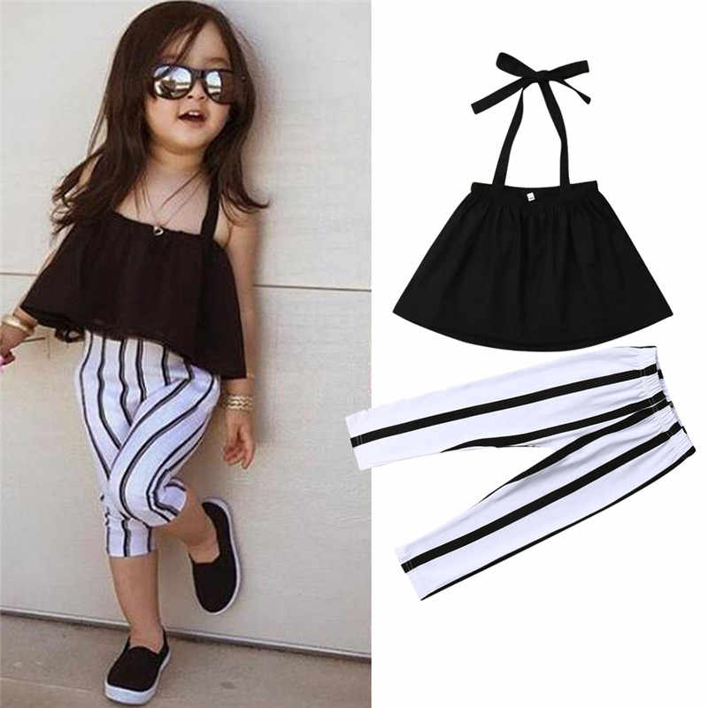34ea2d94e6fd2 Detail Feedback Questions about 1 6Y Cute Girls Summer Clothing Kid Strap  Tops+Striped Pants Leggings 2pcs Outfits Kids Fashion Clothes toddler girl  clothes ...