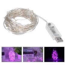 5V USB LED Copper Wire Pink String Fairy Light Xmas Wedding Lamp DIY Decoration 100LEDS 10M