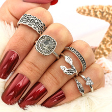 Silver Vintage Bohemian Rings Set Womens with Black Semi-precious Stone Jewelry Accessories Pierscionki