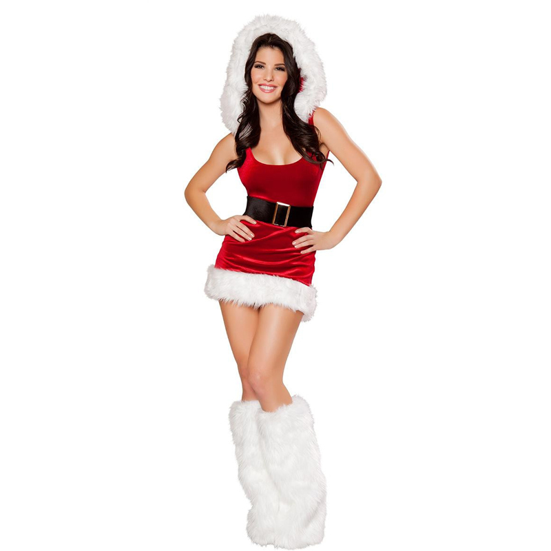 Sexy Women Velvet Red Hood Miss Santa Claus Mini Dress Christmas Party Outfit