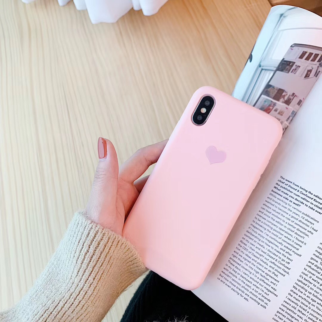 Romantic Love Heart Phone Case Cover for iPhone 6 6S 8 7 Plus Soft TPU Candy Color Cover For iPhone X XR XS Max 5 5s SE Cases in Fitted Cases from Cellphones Telecommunications