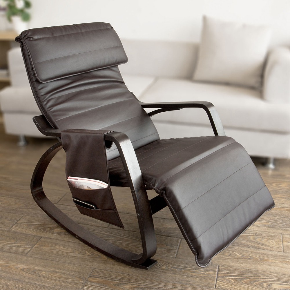 SoBuy FST20-BR,New Relax Rocking Chair Lounge Chair With Adjustable Footrest And Removable Side Bag