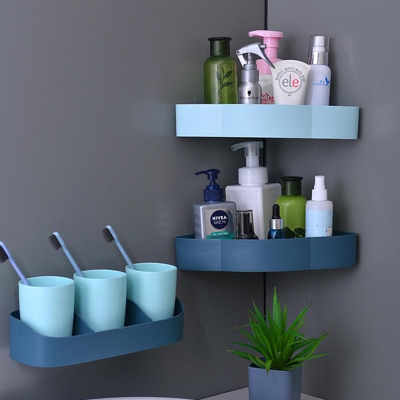 Multifunction Bathroom Shelf Corner Shelf No Drill Paste To Wall Holder Shower Basket Bathroom Rack Bath Organizer Household|Storage Shelves & Racks| |  - title=