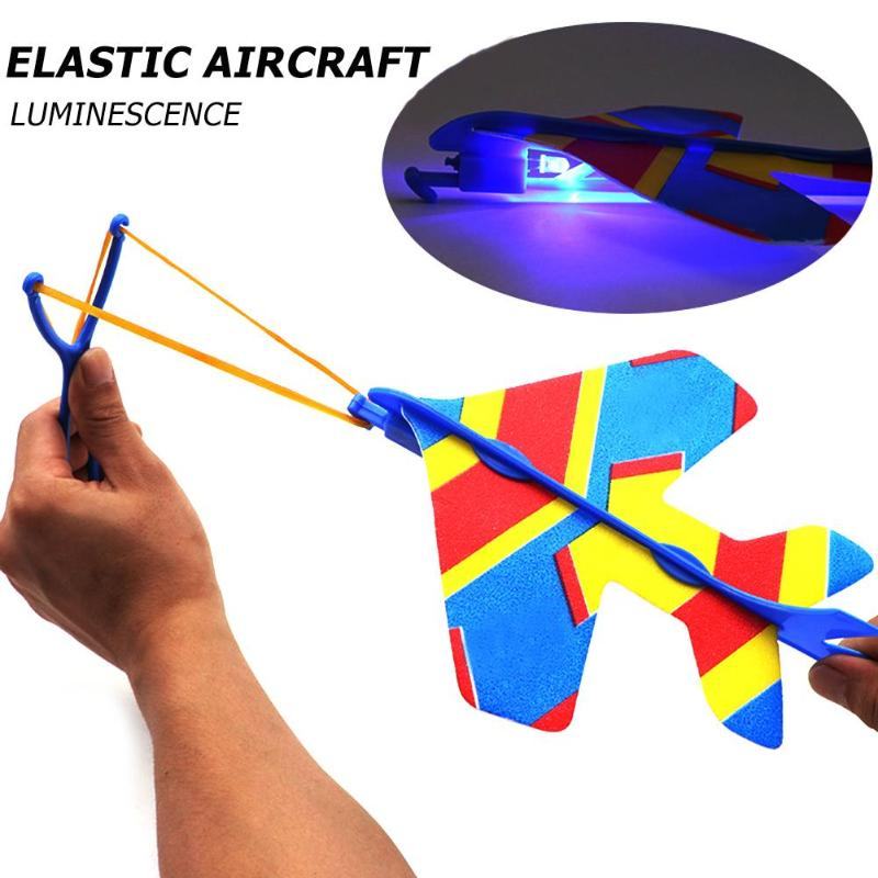 Kids Hand Throw Airplane Toy Stretch Flash Arrows Aircraft Catapult Flying Toy Helicopter Luminous Light Kids Light UP Toys Gift