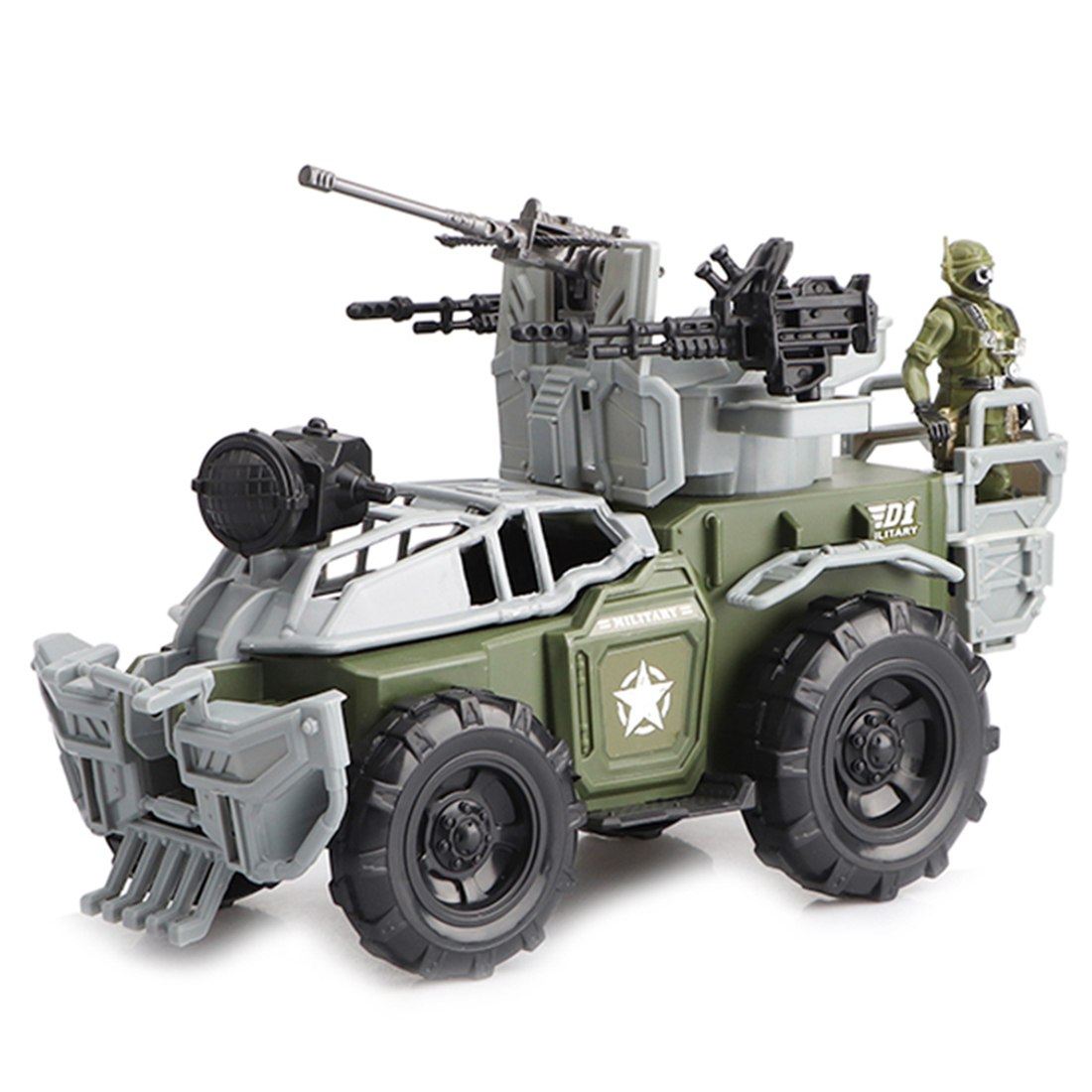 31cm Military Armored Car Inertia Car Model Kits With Soldier For 3.75 Inch 1/18 Scale Soldier Model Figure Toys 2019