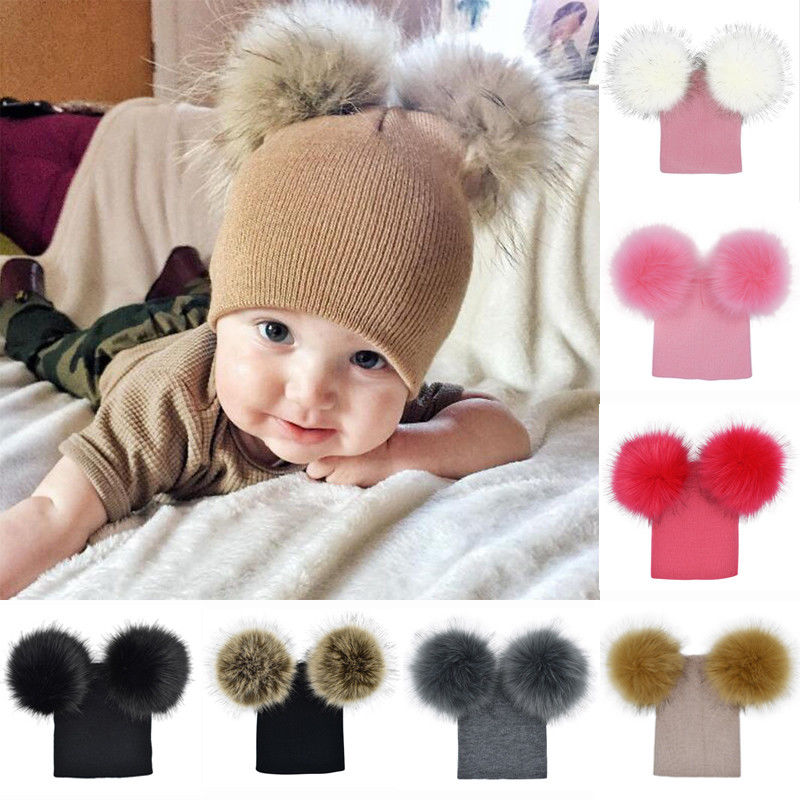 Two Fur Pompom Hat Baby Casual Winter Caps Knitted Wool Hats   Skullies     Beanies   Girls Female Pom Pom   Beanie   Hat