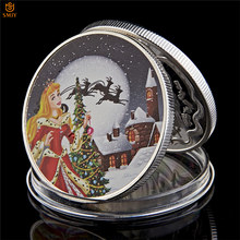 2018 Beautiful Lucky Christmas Princess Cartoon Silver Plated Commemorative Coin For Christmas Gifts And Tree Decorations(China)