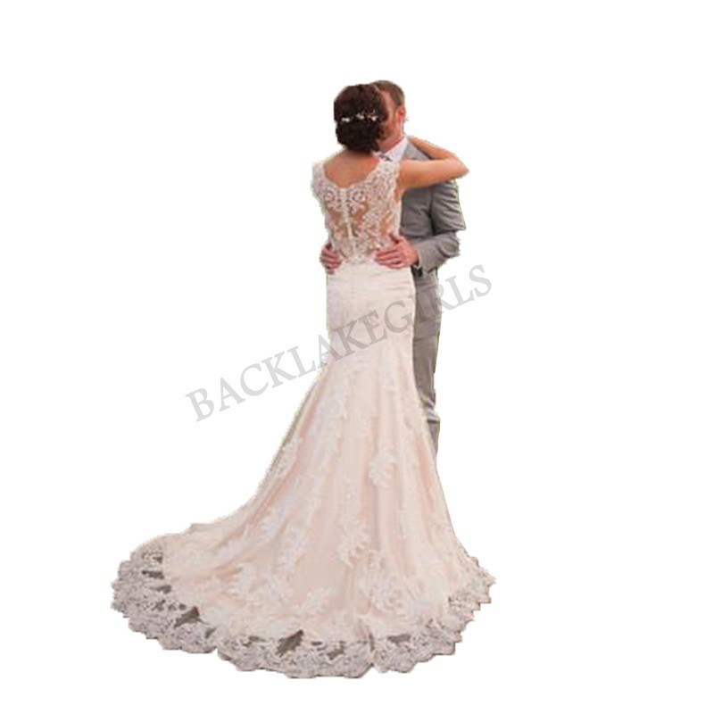 2019 Mermaid Wedding Dresses Elegant Lace Appliques Sexy Lace Up Back Bride Dresses Custom Made Long Elegant Wedding Gowns