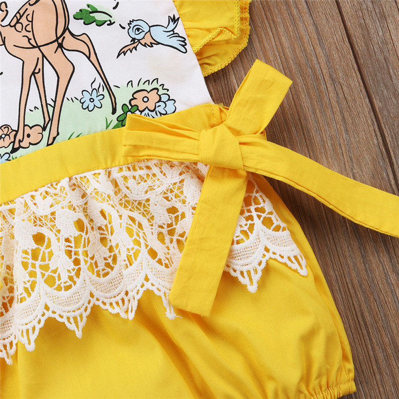 2019 Cartoon Newborn Baby Girls Lace Romper One Piece Jumpsuit Sunsuit Outfit Clothes Cotton New Hot Sale Good Quality O-Neck