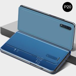 Image 2 - Innovativo Custodia protettiva del Cuoio di Vibrazione Della Copertura di Placcatura Specchio Curvo Del Basamento Anti Collisione Smart Phone Back Protector Per Huawei