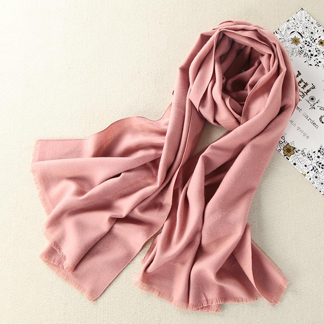 Women   Scarf     Wraps   Winter Spring Warm Soft Cashmere   Scarf   Pashmina Fashion Ladies Solid Long   Scarves   Tassel Shawls Stoles 180cm
