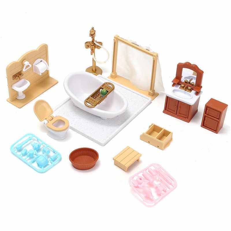 DIY миниатюры диван Спальня Ванная комната мебель, обеденный стол комплекты для кукольного дома игрушки Аксессуары Рождественский подарок на день рождения