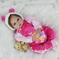 55cm Newborn Baby Doll Bear Cloth Cotton Clothes Simulation Doll Lifelike Realistic Vinyl Reborn Baby Doll Toys