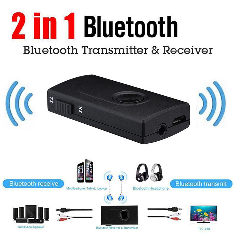 HobbyLane 2 in 1 <font><b>Bluetooth</b></font> Transmitter <font><b>Receiver</b></font> Wireless 3.5mm Stereo Audio Music Adapter with aptX & aptX for TV DVD Mp3 d20 image