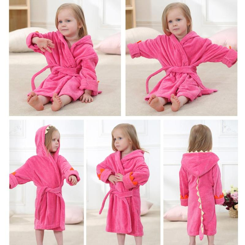 5bf68917b6 Baby Bathroom Baby Bathrobe Cute Animal Hooded Cotton Kids Warm Fleece Bath  Towel Solid Color Sleepwear