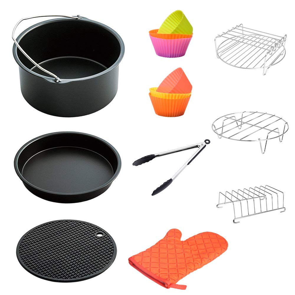 Air Fryer Accessories 8 Inch For 5.8 Qt XL Air Fryer, 9 Pieces For Gowise Phillips And Cozyna Air Fryer, Fit 4.2 Qt To 5.8 Qt,