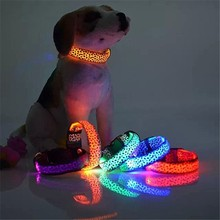 Nylon LED Pet Dog Collar Night Safety Flashing Glowing Collar Leash for Dogs Luminous Fluorescent Pet Supplies Free Shipping .