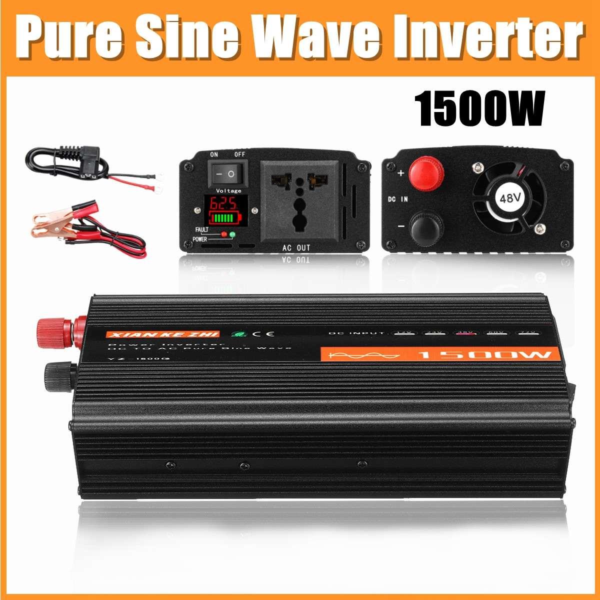 Onduleur à onde sinusoïdale Pure 1500W DC12V/24 V/48 V à AC220V 50HZ Booster de convertisseur de puissance pour onduleur de voiture bricolage domestique - 2