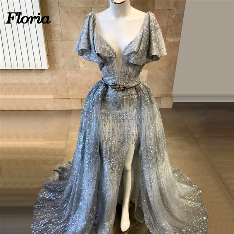 Saudi Arabia High Split Evening Dresses Robe de soiree Islamic Couture Kaftan Pageant Prom Dress 2019 Shiny Abaya Party Gowns