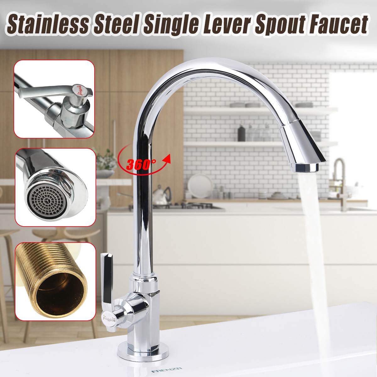 Stainless Steel Kitchen Sink Faucet Brass Cold Water Tap Bathroom Faucet 360 Degree Rotation Single Handle Basin Faucet