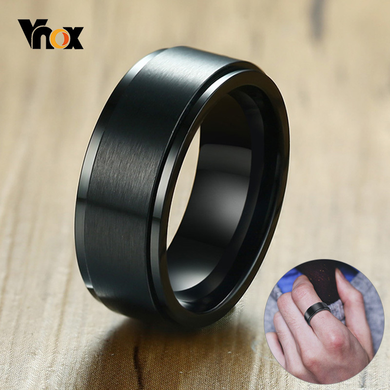 Vnox 8mm Rotatable Basic Ring for Men Black Stainless Steel Casual Male Anel Stylish Punk Spinner Alliance Jewelry(China)