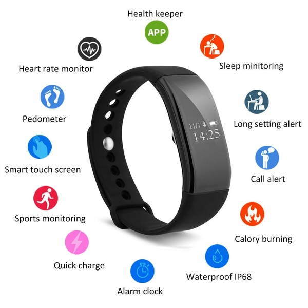 V66 Heart Rate Smart Bracelet Bluetooth 4 0 Pedometer Calorie Sleep Monitor Call SMS Reminder Sedentary Reminder for Android I in Smart Watches from Consumer Electronics