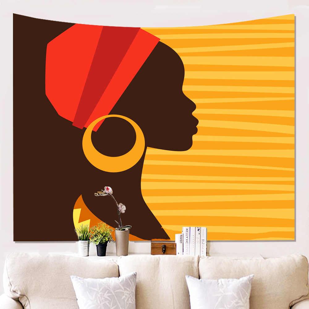 Negro Hippie Tapiz Colgante De Pared Niña Mujer Africana Con Corona Decoración de tapiz
