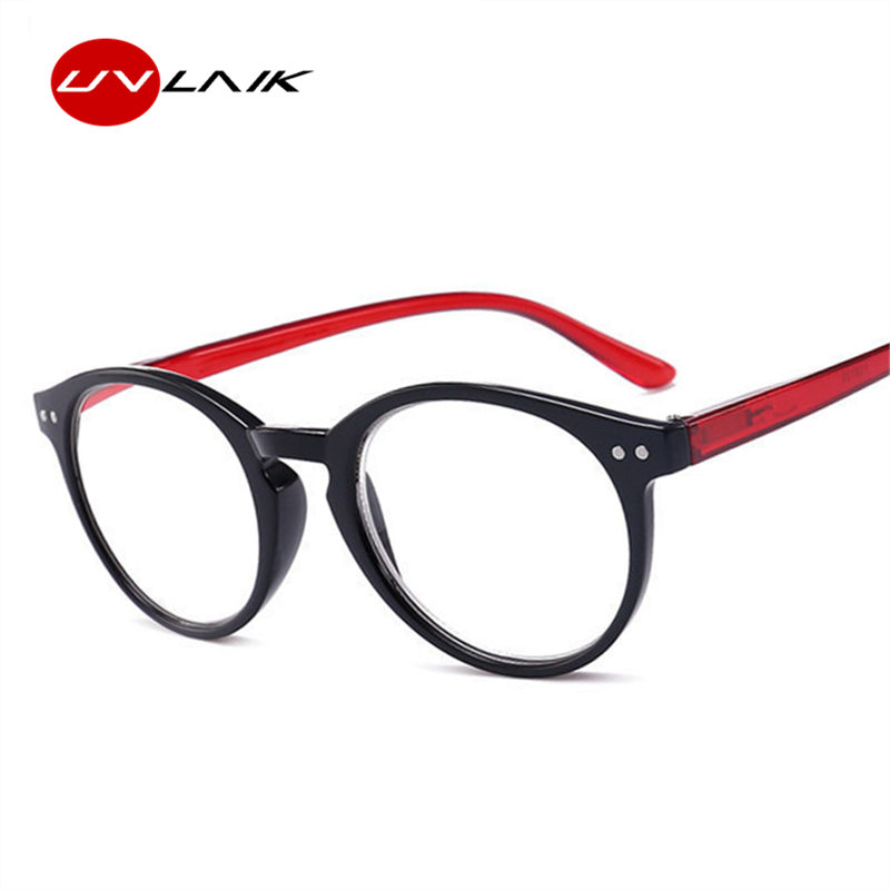 UVLAIK Fashion Round Reading Glasses Women Men PC Resin Frame Hyperopia Prescription Eyeglasses Diopter +1.0 1.5 2.0 2.5 3.0 3.5