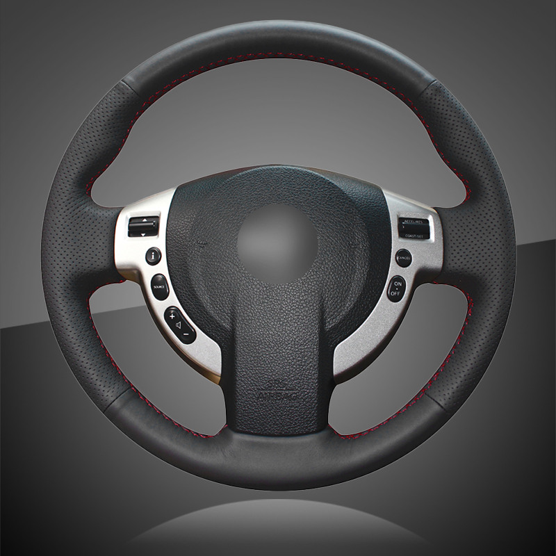 Genuine Leather Car Braid On The Steering Wheel Cover for Nissan Qashqai 2007 2013 Rogue 2008