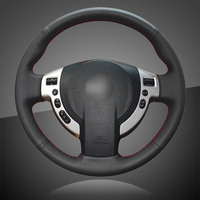 Genuine Leather Car Braid On The Steering Wheel Cover for Nissan Qashqai 2007 2013 Rogue 2008 2013 X Trail 2008 2013 NV200 Auto