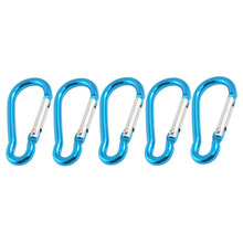 5 X Camp Hiking Portabel Biru Aluminium Alloy Mini Carabiner Hook(China)