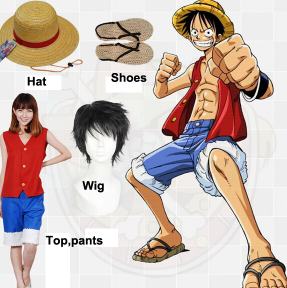 Monkey D.Luffy Cosplay Costume From One Piece Anime Hat Shoes Wig to Choose Free Shipping Stock