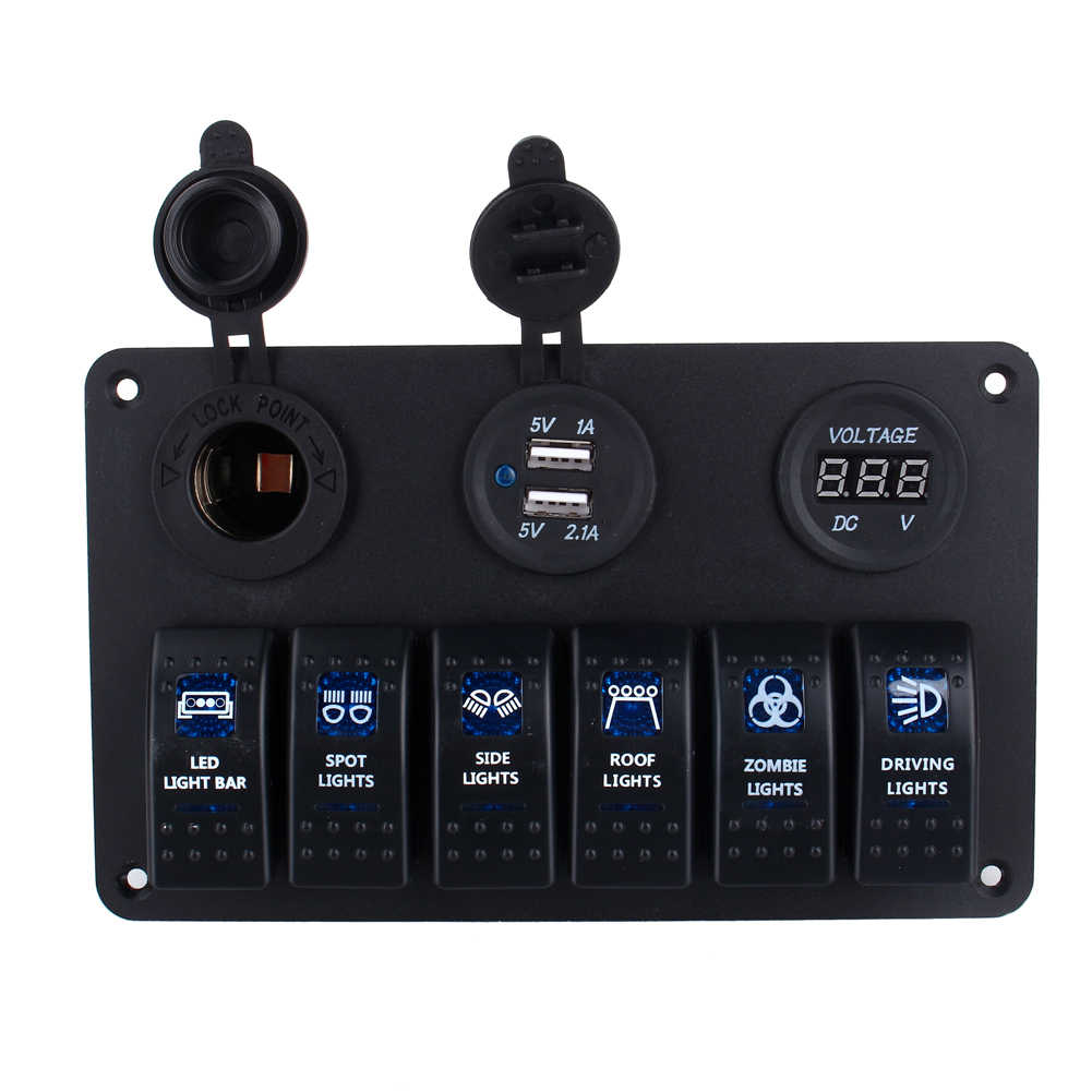 6 Gang Tahan Air Mobil Kapal Laut Circuit Blue LED Rocker Switch Panel Breaker Aksesoris Mobil