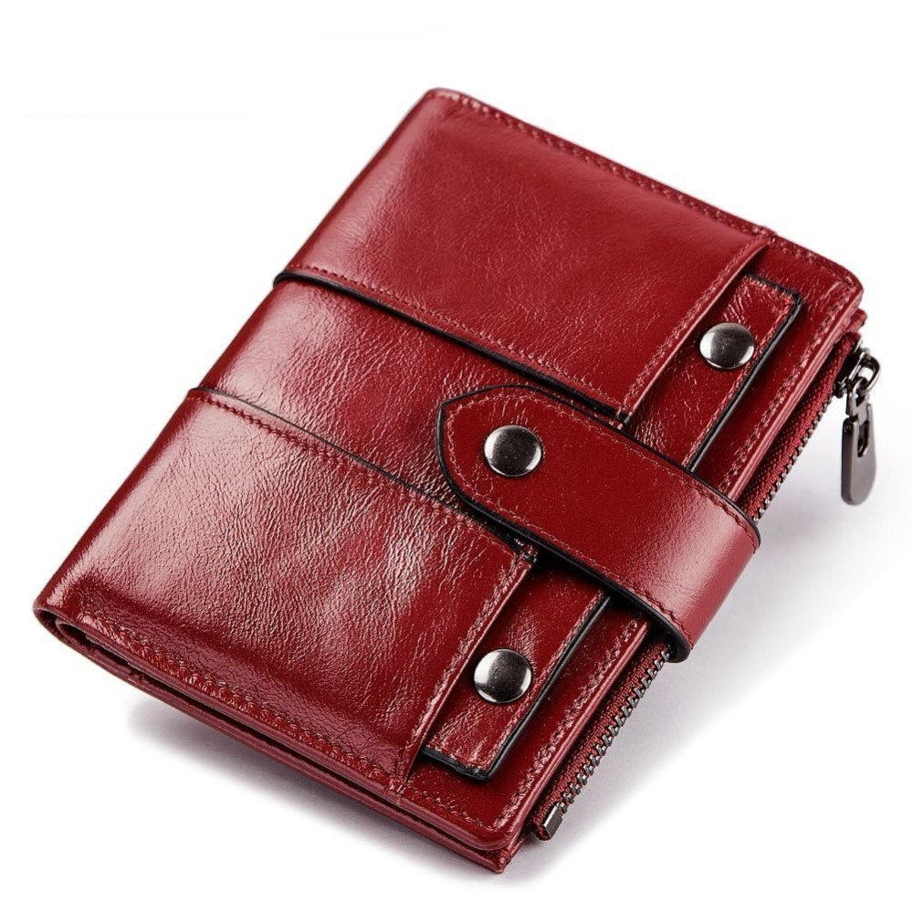 High Quality Women Short Wallets Cowhide Leather Ladies Small Purse Zipper Coin Pocket Card Holder Female Wallet Red